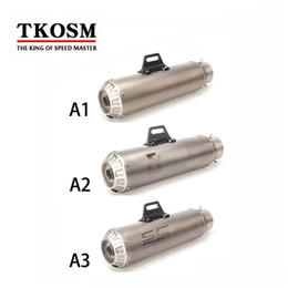 Wholesale Motorcycle Laser - TKOSM Universal 61MM Modified Motorcycle Exhaust Scooter Laser SC Akrapovic Exhaust Pipe Muffler Z750 Z800 Z1000 R1 R3 R6 KTM390 MT07 FZ09