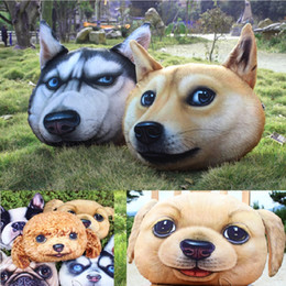 Wholesale Homes For Dogs - 40*38cm doge decorative pillows and cases for sofa and car creative home furnishing plush pillow with dog emoji head shape, 3D printed dogs