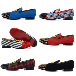 Wholesale Silver Spiked Loafers - Classic Elegant Loafers Men Spooky Flat Party Shoes Without Shoelace For Mens Womens Dynodent Spikes Toe Red Bottom Wedding Sneakers
