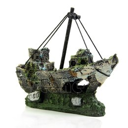 Wholesale Aquarium Boat - Wreck Sunk Ship Aquarium Ornament Sailing Boat Destroyer Fish Tank Cave Decor Free shipping-Y102