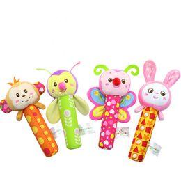 Wholesale plush rattle - Wholesale- Highbellum BABY TOY Baby Rattle Toys Animal Hand Bells Plush Baby Toy High Quality Newbron Gift Christmas Animal Style