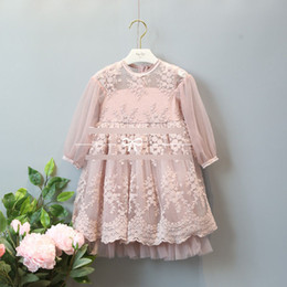 Wholesale Long Dress Lace Net - Grils embroidery dresses 2017 spring children lace embroidery round collar princess dress kids net yarn long sleeve lace tulle dress T1131