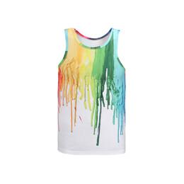 Wholesale Girl 3d Painting - Unisex Teens Boys Girls Women 3D Print Rainbow Oil Paint Vest Sleeveless Tank Tops