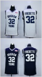 Wholesale University Blue Shirt - Cheap Brigham Young Cougars Jimmer Fredette College Basketball Jerseys 32 Jimmer Fredette Stitched Navy Blue Shirts White University Jersey