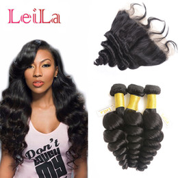 Wholesale Cheap Malaysian - Malaysian Cheap Human Virgin Hair Extensions Loose Wave Bundles with Lace Frontal 13 X 4 Closure Hair Wefts With Frontal 4 Pieces lot