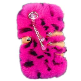 Wholesale Pink Fuzzy - Fashion Lady Phone Tassels Case Winter Warm Fluffy hair Fuzzy Bling Diamond Plush phone case For Iphone 6 6s plus 7 7plus Samsung S6 S7