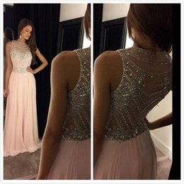 Wholesale Pics Natural - 2017 Real Pic Coral Crystal See Through Plus Size Long Chiffon Sheer Prom Evening Gowns Dresses Vestido De Festa E43
