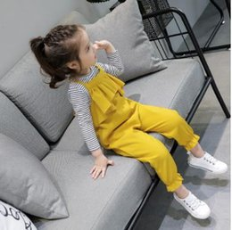 Wholesale Girls Trouser Star - Girls Suits Kids falbala Lace Cross Strap Suspender Trouser+Star Printed Stripe Bottoming-shirt 2pcs Sets Children sets kids Clothing G1238