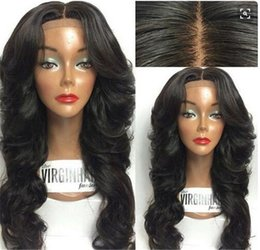 Wholesale S Wigs - 180% Density Human Hair Full Lace Wig Body Wave Brazlian Remy Hair S Part Wig With Baby Hair & Bangs for Black Women