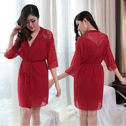 Wholesale thin bathrobes - Wholesale- New Women silk Robe Set sexy pajamas hollow out Lace thin sleepwear temptation Sexy underwear (bathrobe + sling +T-Back)