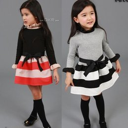 Wholesale Clothes For Kids Girls School - (5pcs lot)Children Costumes For Girls Sweet Princess Dress Baby Girl School Dresses For Birthday Party Long Sleeved Bow Girl Kids Clothes