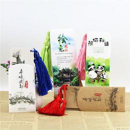 Wholesale Blue Light Jazz - Tassels, panda creative paper bookmarks, Sichuan Chengdu travel souvenirs, graduation gifts, inspirational classical Chinese wind