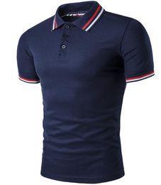Рубашки для мужчин бесплатно онлайн-Полосатая рубашка поло Мужчины с коротким рукавом с отложным воротником Pattern Design Button Slim Fit For Man Повседневная рубашка поло Free Ship 2017