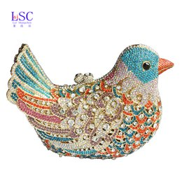 Wholesale Popular Bird - Wholesale-2016 popular luxury evening bags Sparkly Crystal women Clutch bags Colorful Bird pattern Ladies dinner bags Clutches purse SC035