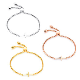Wholesale Cross Silver Chain Bracelet - Lovely Women Girls Christian Cross Bracelet Rose Gold  Silver  Gold Color Stainless Steel Adjustable Box Chain Bracelet Mother's day Gift