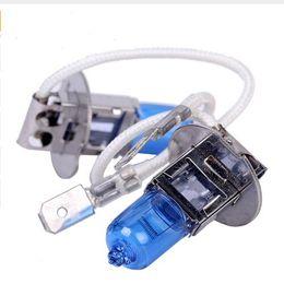 lampadina a commutazione colore Sconti 100pcs H3 Super Bright White Alogeno Lampadina 55W 5500K Car Head Lampada luce 12V Car Light