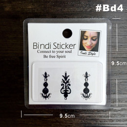 Wholesale Sticker Tribal - Wholesale-#BD4 Black Color High Quality Bindi Sticker Handpicked Boho And Tribal Style Bindis Temporary Tattoo Stickers Surprise Value Buy