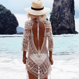 Wholesale Knit Wear Dresses Sale - Sexy Backless Bikini Cover Up Knitted Swimsuit Cover Up Sexy Summer Dress Crochet Beach Dress Hot Sale Hollow Beach Wear