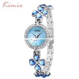 Wholesale Dresses Clover - KIMIO Ladies Lucky Clover Love Crystal Strap Austrian Drilling Women Watches 2016 Luxury Brand Quartz Watches Woman Dress Clock