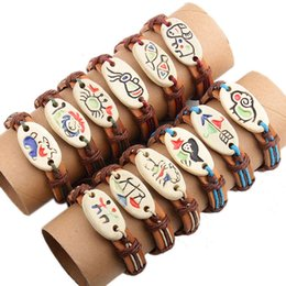 Wholesale Pottery Bracelets - 24PCS LOT Twelve Constellations Painted Pottery Leather Handmade Wristbands Charm Bracelet Zodiac Bangles Jewelry Free shipping