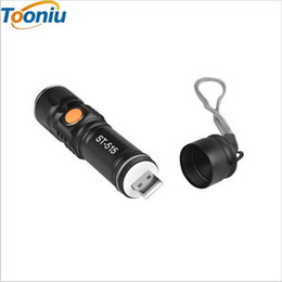 Wholesale powerful rechargeable torch - USB Inside Battery Cree XML-T6 Powerful 2200LM Led Flashlight Portable Light Rechargeable Tactical LED Torches Zoom Flashlight