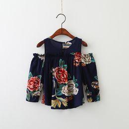 Wholesale Korean Style Shirt New Kids - Everweekend Kids Girls Muti-color Off Shoulder Fashion Korean Tops Autumn New Flowers Ruffles Baby Blouse Shirt Clothing