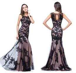 Wholesale New Dress Models Women - Real Image Sexy New Sheer Tulle Sleeveless Mermaid Evening Dresses Black Lace Applique Formal Party Women Floor Length Prom Gowns CPS015