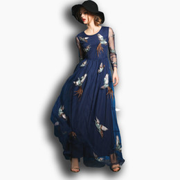 Wholesale Net Maxi Dress - 2017 Spring Product Fashion Women's Clothing Embroidery Phoenix Nets Yarn Cultivate One's Morality Long Long Sleeve Dress Dress Is Female