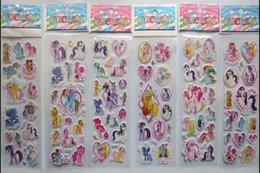 Wholesale Rainbow Pony - Hot Sale !100pcs lot 3D Rainbow Pony Children Cartoon Cute PVC Affixed Stickers Love Sticker For Praise Children Toy