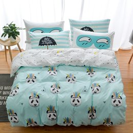 Wholesale Cat Comforter Sets - 100% Cotton Owl Panda Fox Cat Bedding Set Cartoon Modern Flower Queen Size Stripe Bed Duvet Cover Bed Sheet Bed Linen Pillow