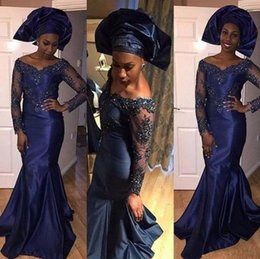 Wholesale Vestidos Largos Fashion - Vestidos Largos 2017 African Evening Gowns V Neck Long Sleeve Lace Mermaid Satin Lace-up Back Navy Blue Long Cheap Prom Dresses For women