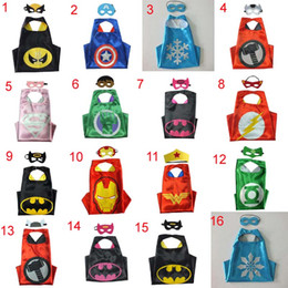 Wholesale Reversible Capes - 35 High Quality Designs Superhero Turtles Cape & Mask L70*W70CM Double Side batman spiderman Reversible Superhero Cape supergirl cape + mask
