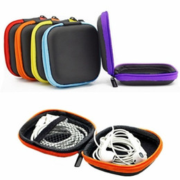 Wholesale Wholesale Leather Coin Pouches - Wholesale- PU Leather For Earphone Headphone Earbuds Cards Storage Bag Pouch Hard Case Box