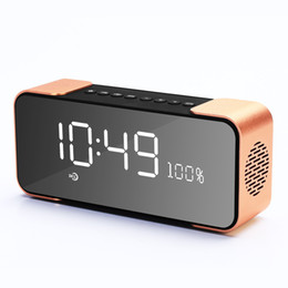 Wholesale Mp3 Bluetooth Mirror - Wholesale- Portable Bluetooth Speaker with FM Radio Alarm Clock Support TF card Aux in MP3 player PTH-305 Mirror LED Clock Stereo Subwoofer