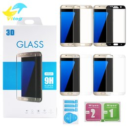 Wholesale Edge Covers - For Samsung galaxy S6 edge plus S7 Edge S8 S8 plus A3 A5 A7 9H 3d Curved Side Full Cover Tempered Glass Screen Protector with Retail package