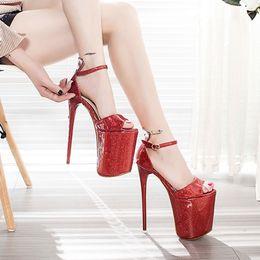 Wholesale Pole Dance Heels - Women Sandals Extra High Heels Platform 19cm Thin Heels Sexy Pole Dancing Work Shoes Female Big Size Nightclub Open Toe Party