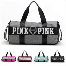 Wholesale Multi Shoulder Bag - 2017 Travel Duffle Bags VS Pink Handbags Women Striped Waterproof Beach Bag Shoulder Bag 5 Colors