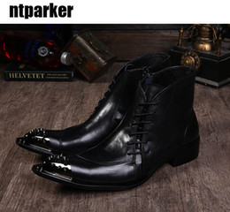 Wholesale Men Pointed Short Boots - Big size 45 46 Men's Ankle Short Boot Black Height Increased Iron Toe Zip Boots Men Western Shoes Boots!
