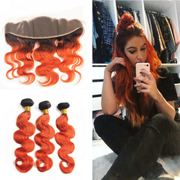 Wholesale Orange Hair Extensions - Dark Roots Ombre Orange Hair Extension With Frontal Closure Ombre Color Body Wave 1B 350 orange Human Hair Bundles With Lace Frontal 13x4