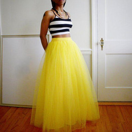 Wholesale Long Black Fluffy Skirts - Retro Summer Long Tulle Women Skirts Multi Layered Bright Yellow Custom Made Plus Size Fluffy Casual Dresses For Women Beach Party Dresses