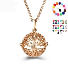 Wholesale Stainless Steel Tree Pendant - Tree Of Life Locket Necklace Gold Stereoscopic Lift Tree Cage Pendant Necklaces Fashion Aromatherapy Diffuser Women Jewelry