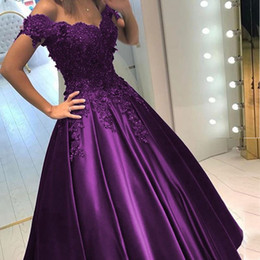 Wholesale Quinceanera Dresses Sleeves - Regency Purple Ball Gown Quinceanera Dresses Sweetheart Off Shoulder Appliques Beaded Satin Navy Blue Prom Dresses Sweet 16 Dresses
