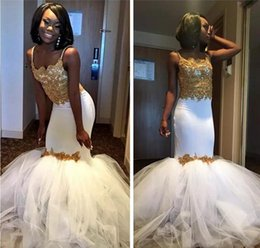 Wholesale Tulle Skirt Slim - 2017 Gold Lace Mermaid White Black Girl Formal Evening Dresses With Tulle Puffy Skirt Sexy Slim Prom Arabic Party Gowns Vestidos De Festa