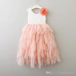 Wholesale Tulle Tutu Boutique - Kids Girls Lace Dresses Baby Girl Floral Print Dress Boutique 2017 Infant Princess Tulle Vest Tutu Dress for Party Children Clothing B380
