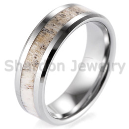 Wholesale Wedding Band Ring Couple - Free shipping 8mm Beveled Mens Wild Antler Inlaid Tungsten Ring Outdoor Engagement Wedding Band have in stock