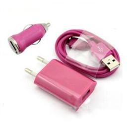 Canada Top Qualité 3 en 1 Chargeur Kits Mini Chargeur de voiture + Câble de synchronisation de données USB + Adaptateur de chargeur mural US + Boîte de vente au détail Offre