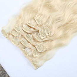 Wholesale European Clip Remy Hair - Hot selling 613# light blonde Remy Clip In Human Hair 7pcs Virgin Brazilian Clip In Hair Extensions Water wave factory price wholesale
