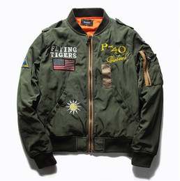 chaqueta de vuelo militar para hombre Rebajas Venta caliente Mens Spring MA1 Pilot Bomber Jacket Thin Militar Army Flying Tigers Cool Baseball Flight Jacket
