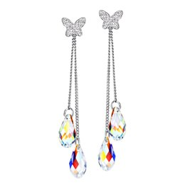 Wholesale Rhinestone Butterfly Charms - Wholesale Jewelry Transparent MADE WITH SWAROVSKI ELEMENTS Crystal Neoglory Butterfly Fashion Earrings For Women 2017 New Gifts T1