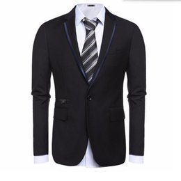 Wholesale Tailor Dress Groom - Black and grey men suits jacket one button wedding groom dress jacket tailor made fashion formal work suits jacket